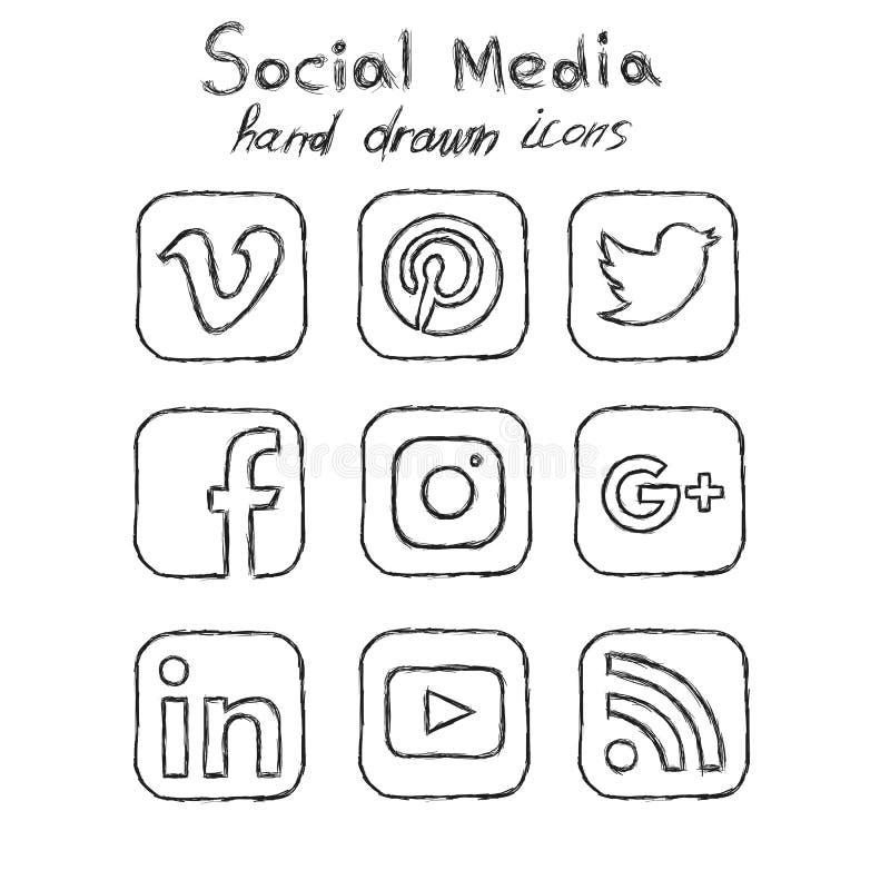 De sociale media overhandigen getrokken pictogrammen vector illustratie