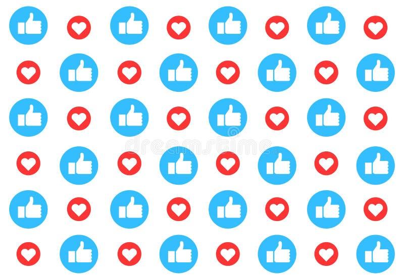 De sociale media patroonachtergrond met houdt van Duimen omhoog en harten Duif als symbool van liefde, pease vector illustratie