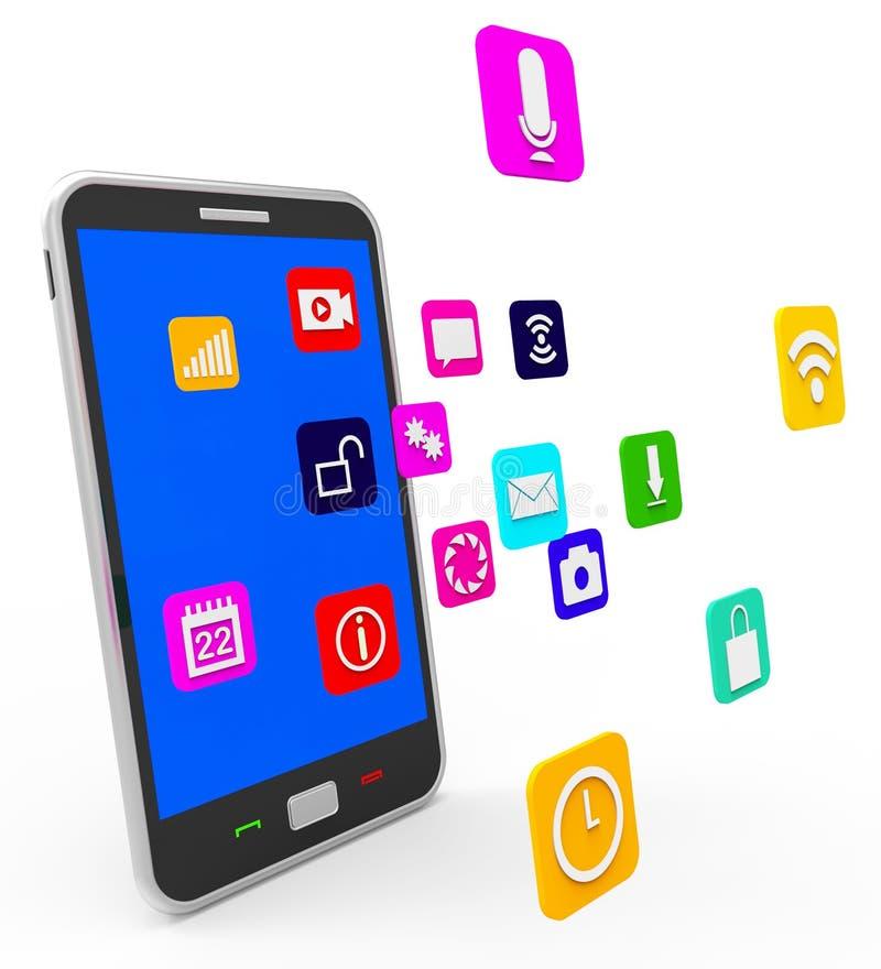 De sociale Media Telefoon wijst Nieuws op Voer en Blogging vector illustratie