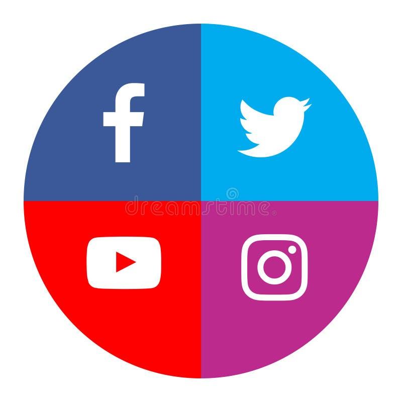 De sociale media vectorillustratie van de pictogrammen facebook tjilpen instagram youtube royalty-vrije illustratie