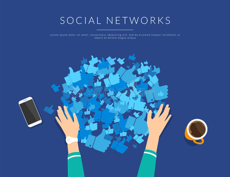 De sociale media verslaving om velen te verzamelen houdt van van openbare profielen stock illustratie