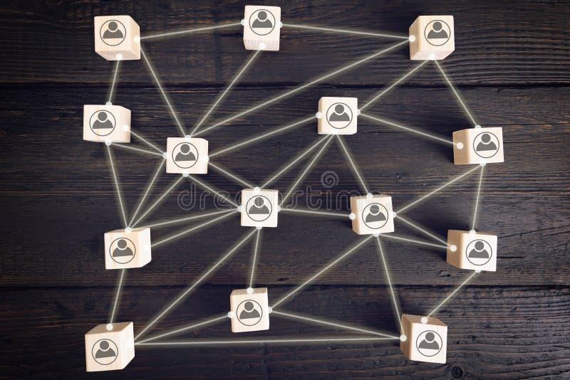 De sociale netwerkregeling, die bedrijfsmensenpictogrammen bevat verbond met elkaar Menselijk middelbeheer Het zoeken royalty-vrije stock afbeeldingen