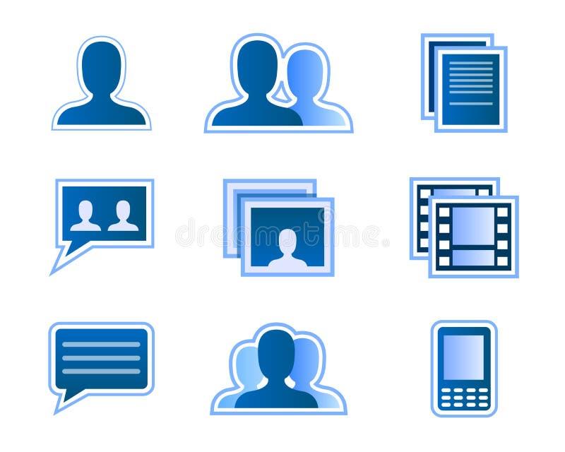 De sociale pictogrammen van de netwerkgebruiker stock illustratie