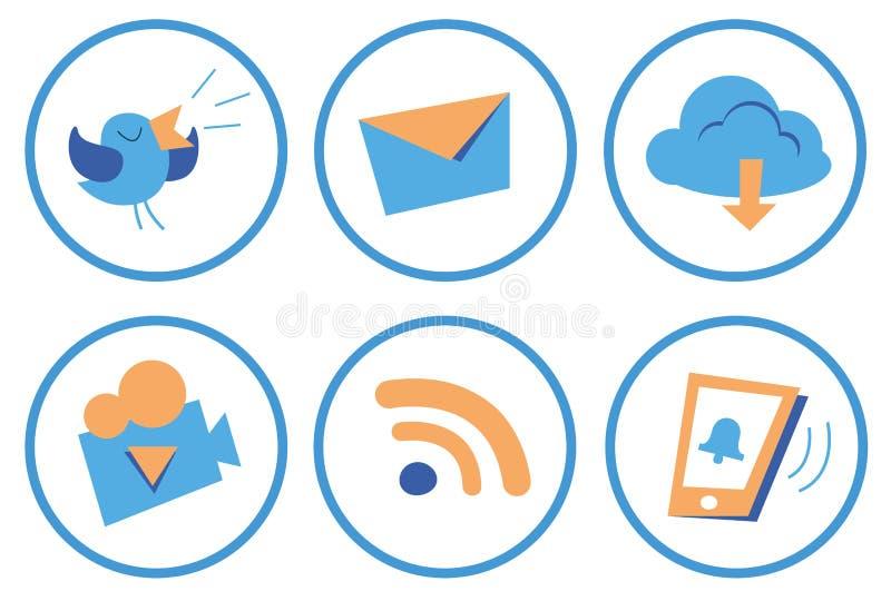 De sociale pictogrammen van het beeldverhaal royalty-vrije illustratie