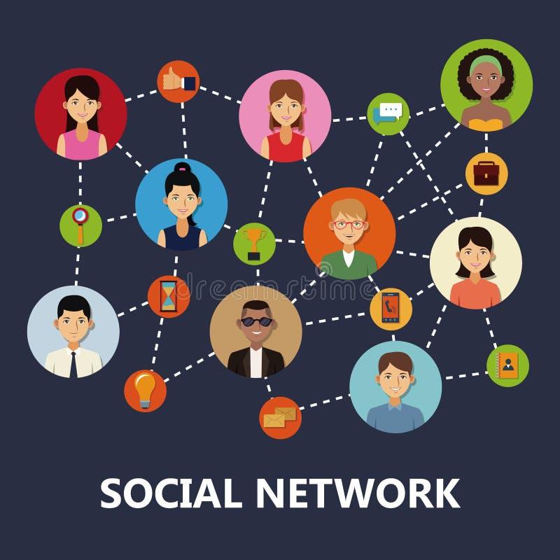 De sociale Pictogrammen van het Netwerk vector illustratie