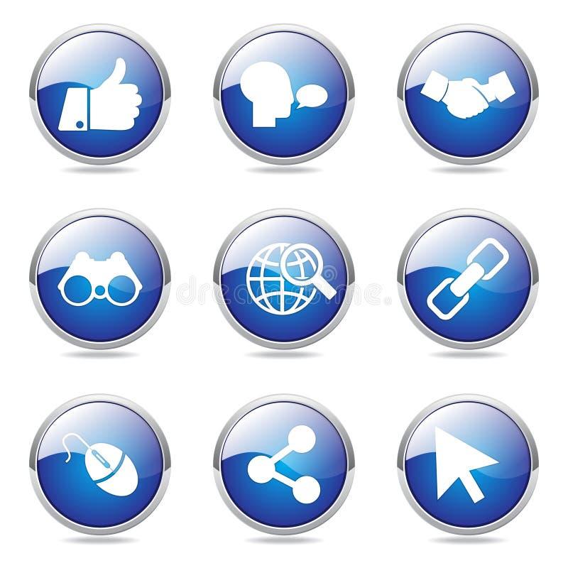 De sociale Reeks van het het Pictogramontwerp van Internet Blauwe Vector vector illustratie