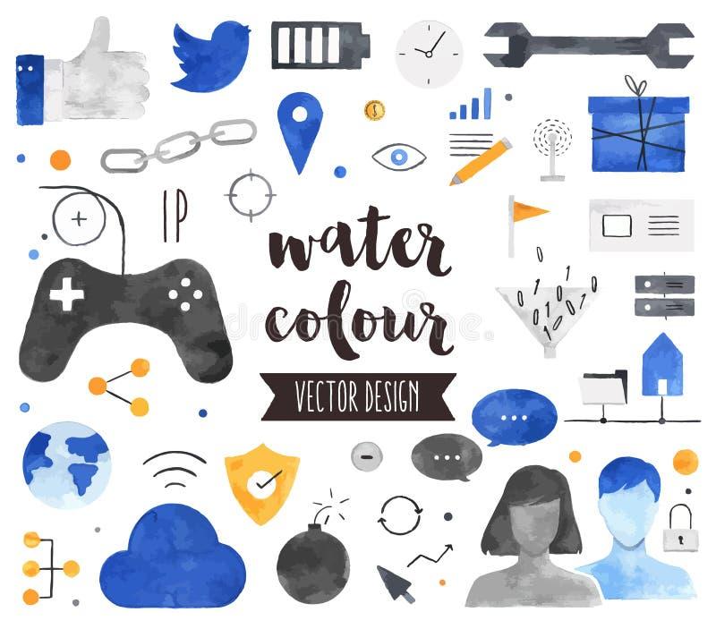De sociale Vectorvoorwerpen van de Verbindingswaterverf royalty-vrije illustratie