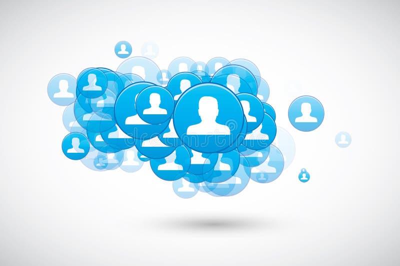 De sociale wolk van de toespraakbel met de vector van gebruikerspictogrammen stock illustratie