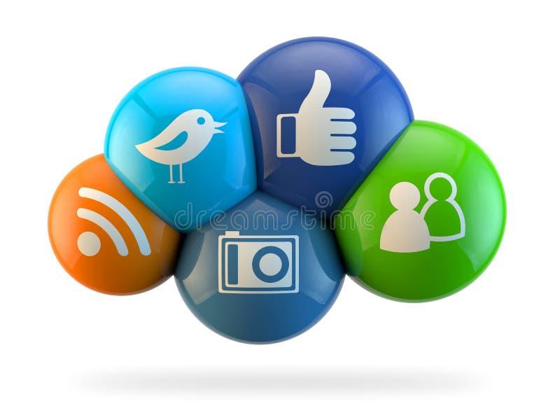 De sociale Wolk van Media royalty-vrije illustratie
