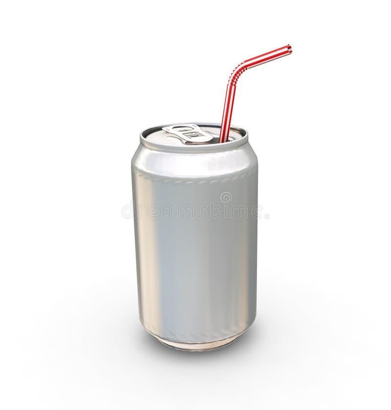De soda kan met stro royalty-vrije illustratie