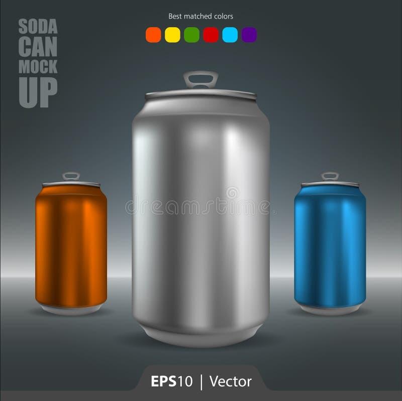De soda kan realistische modelillustratie voor Web en mobiel royalty-vrije stock foto's