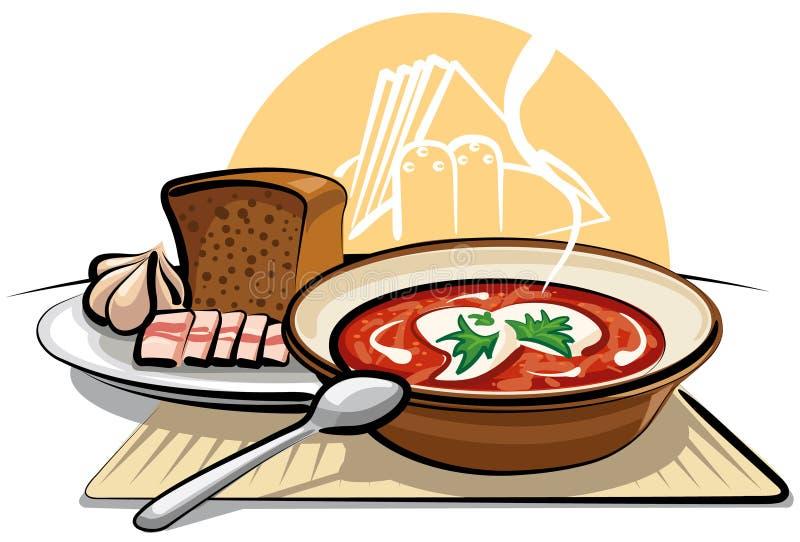 De soep en het knoflook van Borscht met ham vector illustratie