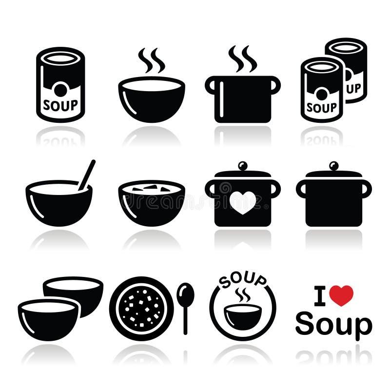 De soep in kom, kan en pot - voedselpictogram plaatsen stock illustratie