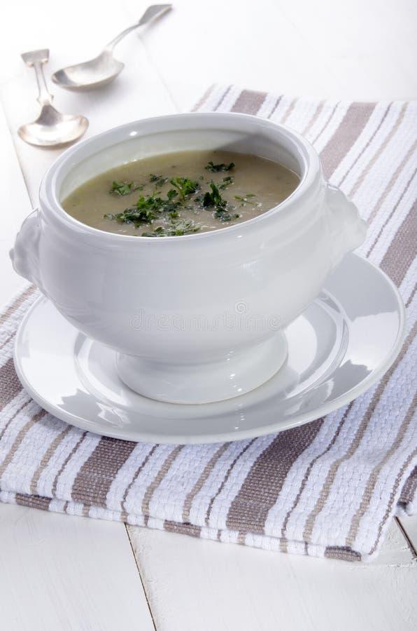 De soep van de aardappelprei met peterselie stock afbeeldingen