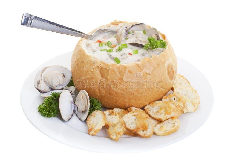 De soep van de broodkom stock afbeeldingen