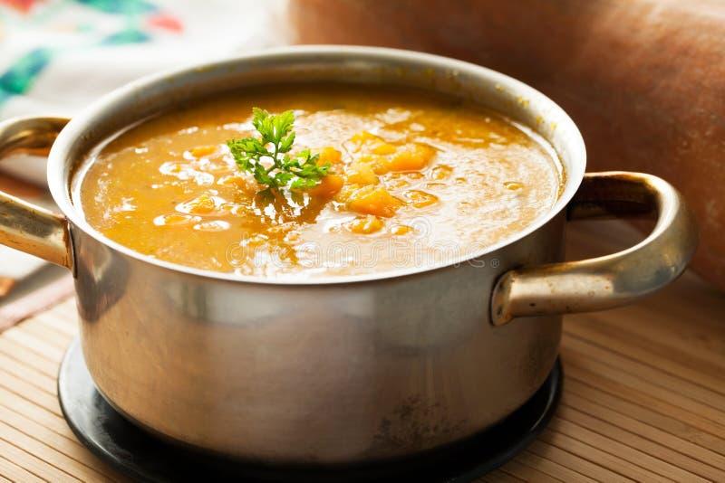 De soep van de Butternutpompoen royalty-vrije stock foto's