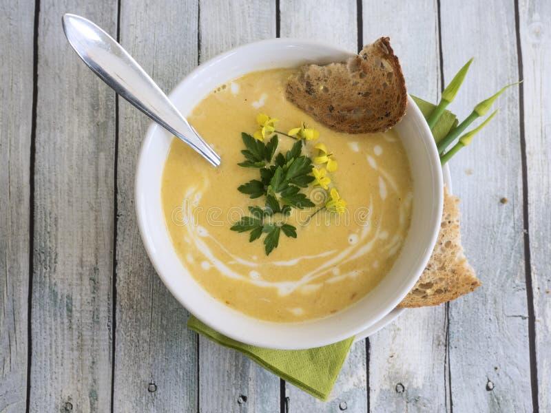 De soep van de Butternutpompoen stock foto's