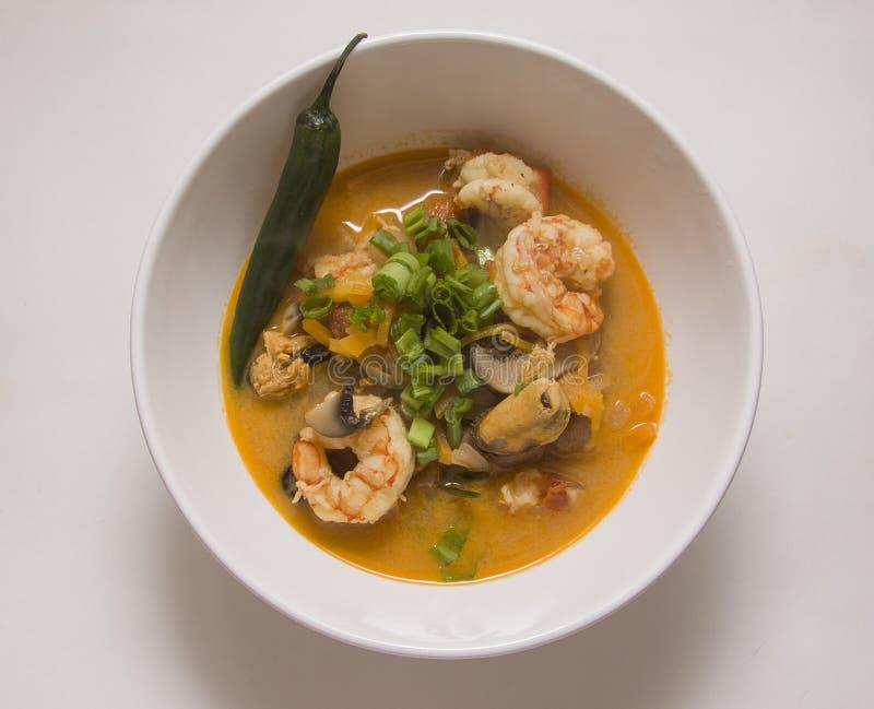 De soep van de garnalenspaanse peper royalty-vrije stock foto