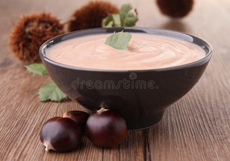 De soep van de kastanje stock afbeelding