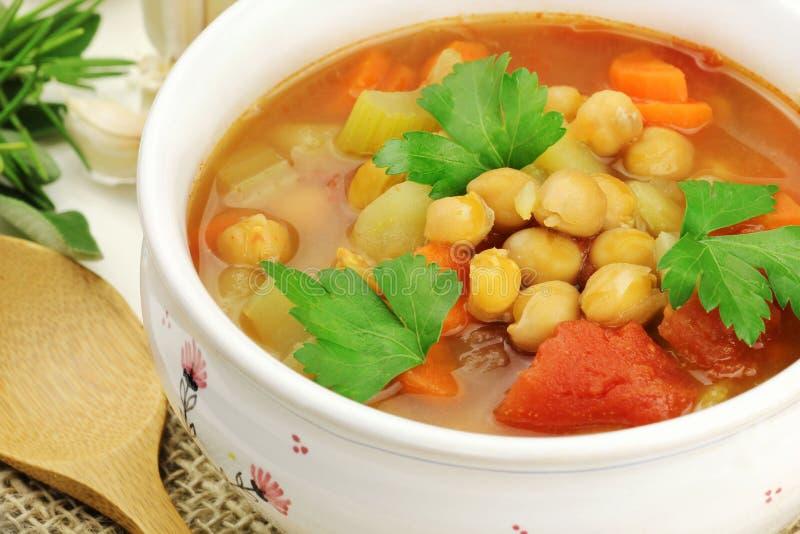 De soep van de kikkererwt stock afbeeldingen