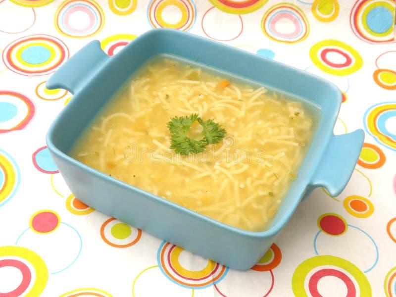 De soep van de kip met noedels stock afbeeldingen