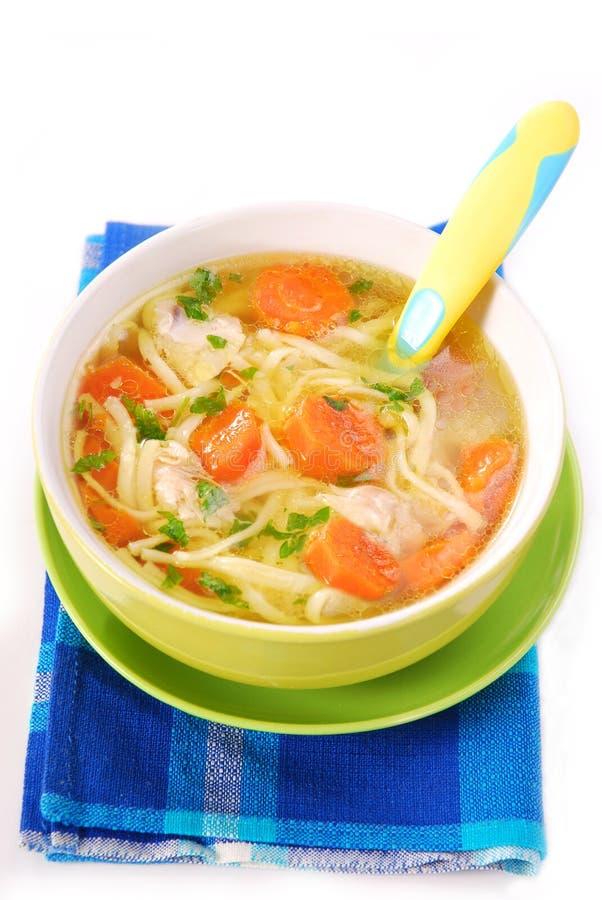 De soep van de kip met noedels voor kind royalty-vrije stock fotografie