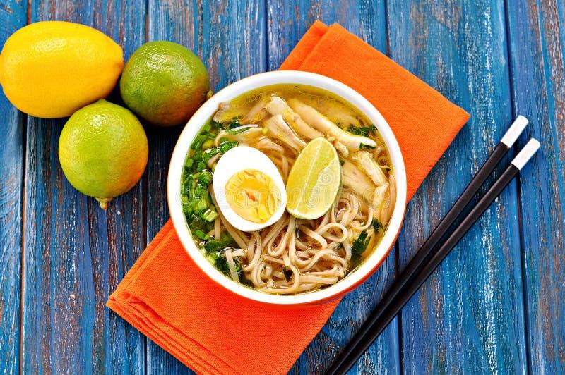 De soep van de kippennoedel met groene ui, gember, koriander en Spaanse peperpeper Aziatische keuken royalty-vrije stock afbeeldingen