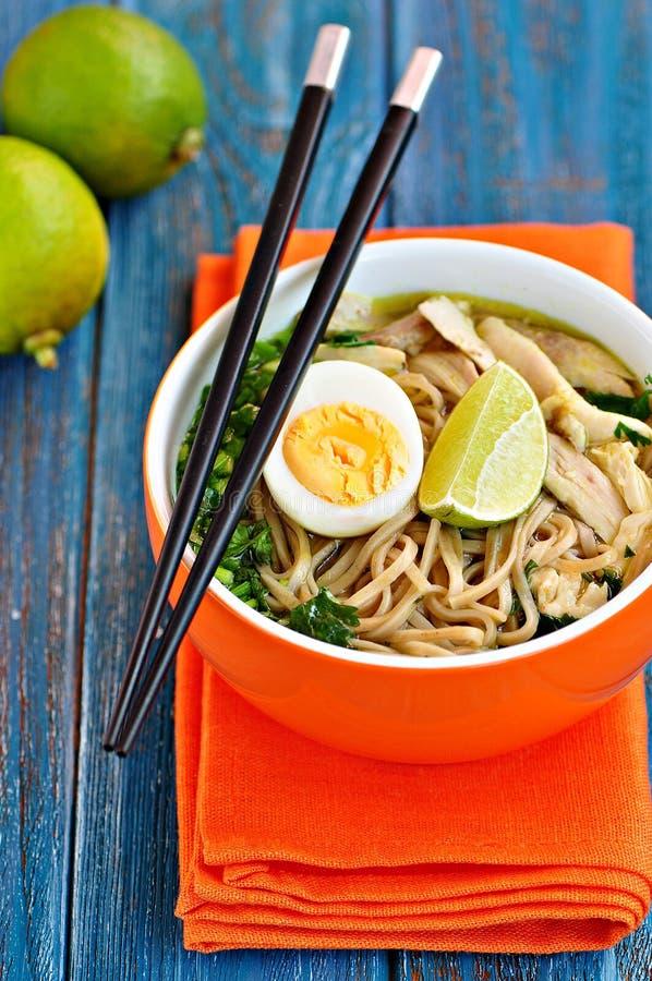 De soep van de kippennoedel met groene ui, gember, koriander en Spaanse peperpeper Aziatische keuken stock foto's
