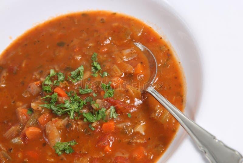 De Soep van de minestrone & van het Bacon stock afbeeldingen