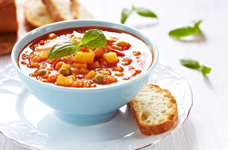 De soep van de minestrone met brood royalty-vrije stock afbeeldingen