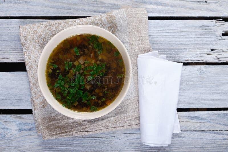 De soep van de paddestoelroom stock afbeeldingen