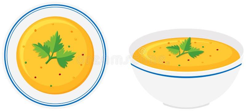 De soep van de pompoen in kom stock illustratie
