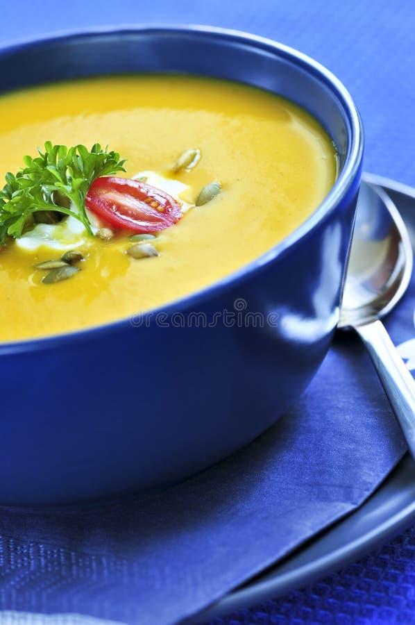 De soep van de pompoen of van de pompoen royalty-vrije stock afbeelding
