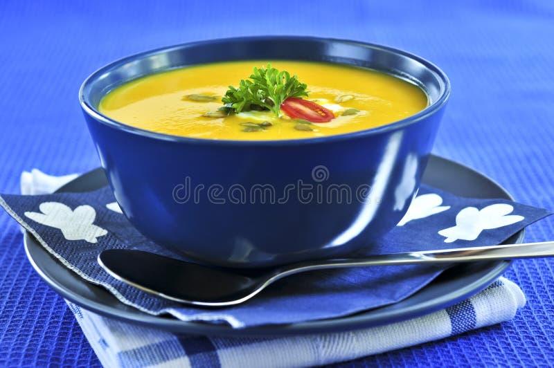 De soep van de pompoen of van de pompoen royalty-vrije stock foto