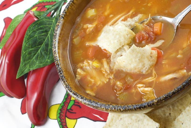 De Soep van de Tortilla van de kip royalty-vrije stock foto