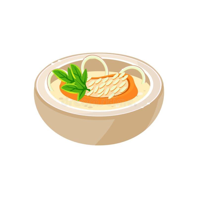 De soep van de ui in een kom Vector illustratie royalty-vrije illustratie