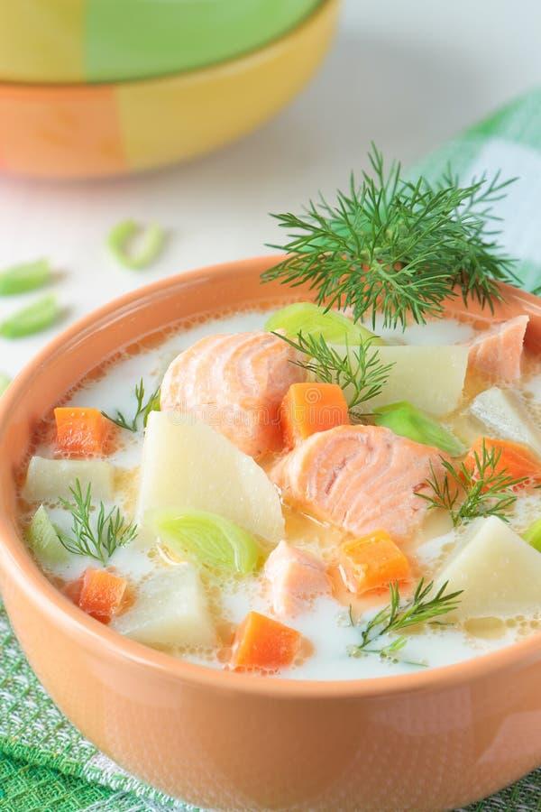 De soep van de zalm met room, aardappels en wortelen royalty-vrije stock fotografie