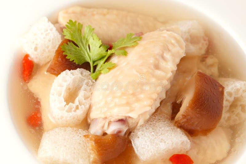 De soep van het kippenbamboe stock fotografie