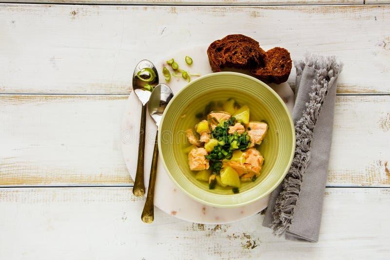 De soep van vissen met zalm royalty-vrije stock afbeeldingen