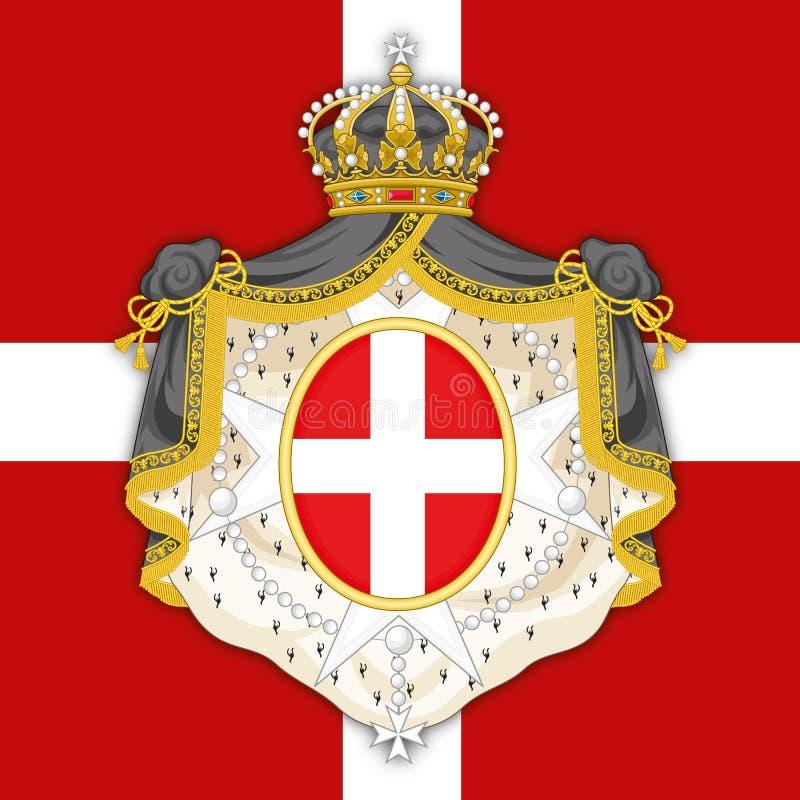De Soevereine Militaire Orde van SMOM van het wapenschild van Malta op de officiële vlag vector illustratie