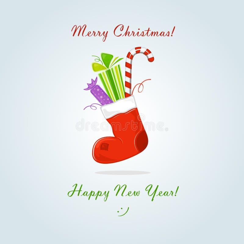 De sok van Kerstmis met gift en snoepje vector illustratie