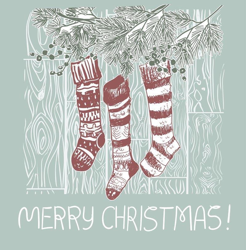 De sokken stelt Kerstmis blauwe roze traditionele vectorkaart voor vector illustratie