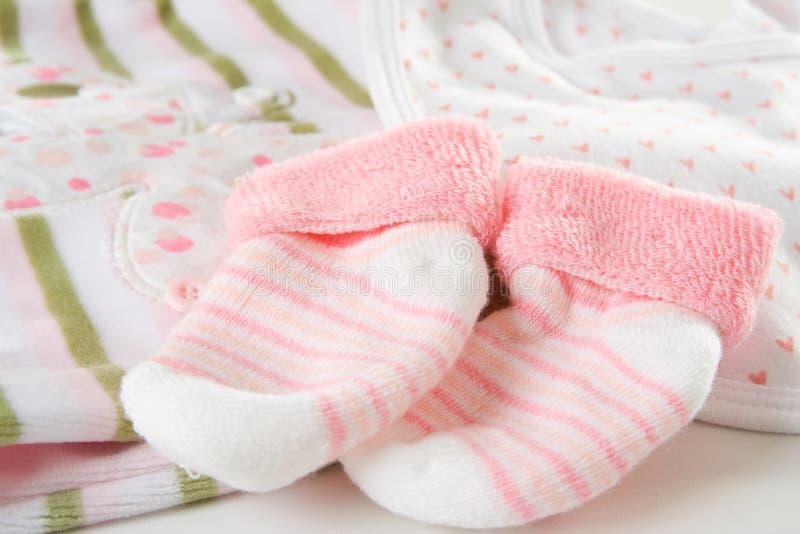 De sokken van het meisje van de baby royalty-vrije stock fotografie
