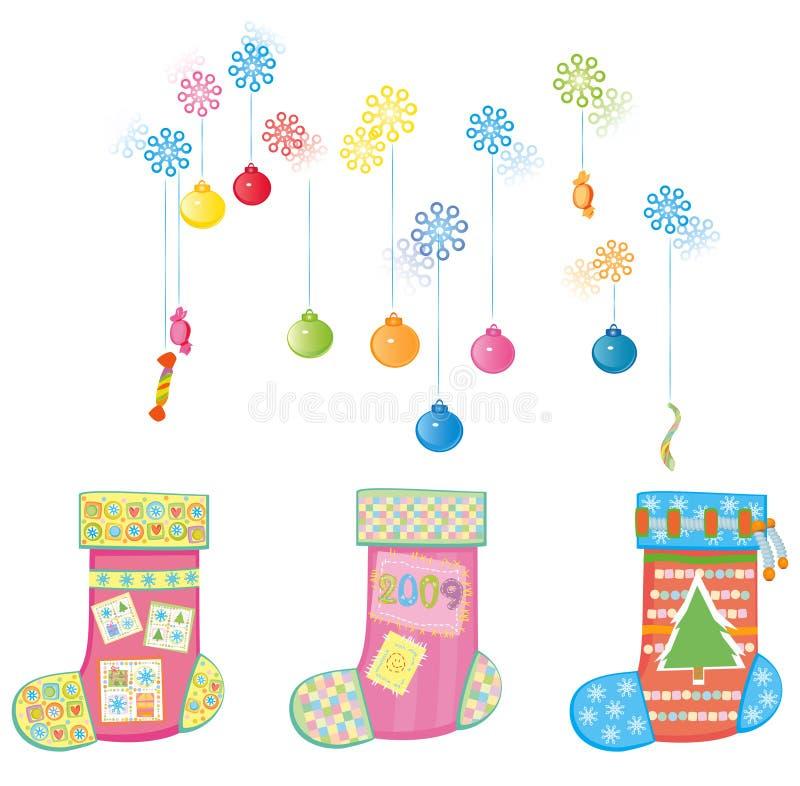 De sokken van Kerstmis. vector illustratie