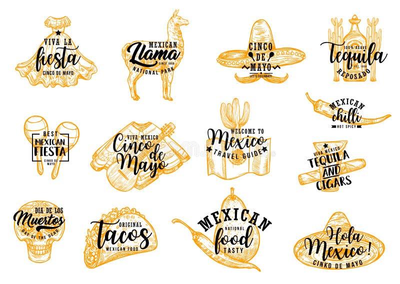 De sombrero, de cactus en tequila van Cinco de Mayo Mexican royalty-vrije illustratie