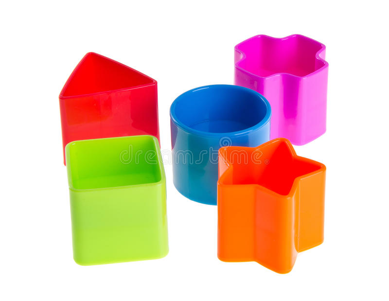 De Sorteerder van de vorm. Stapels Blokken van het Stuk speelgoed op achtergrond royalty-vrije stock foto's