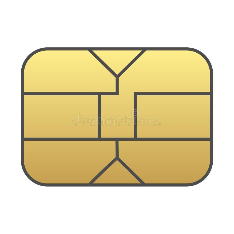 De spaander van de Simkaart op witte achtergrond wordt ge?soleerd die stock illustratie