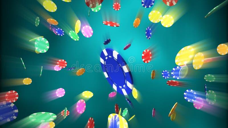 De spaanders die van het casino blauwe lichte gloed laten vallen als achtergrond royalty-vrije stock afbeelding