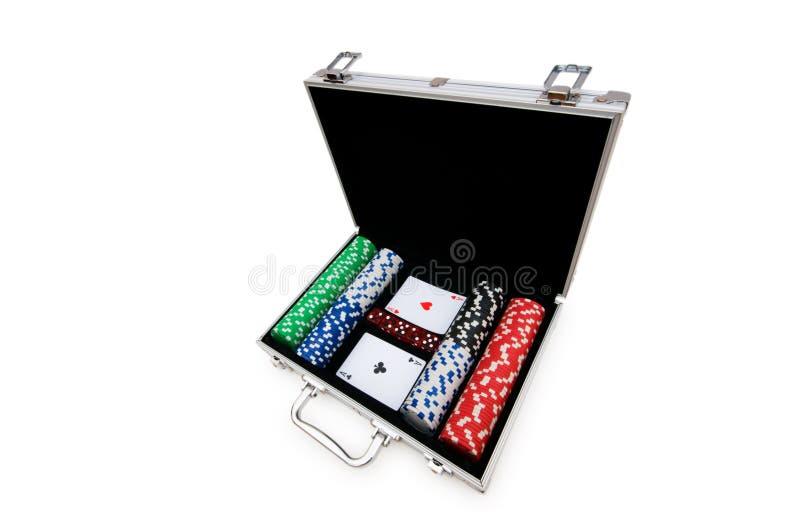 De spaanders en de kaarten van het casino stock afbeeldingen