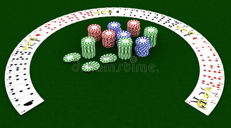 De spaanders en de speelkaarten van het casino royalty-vrije illustratie